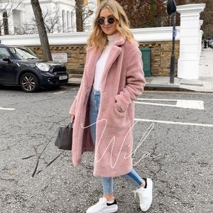 Pink teddy trench coat long line jacket 823829